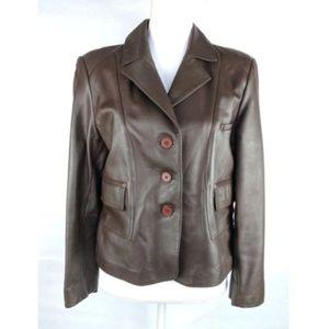 Vakko Lamb Leather Jacket Blazer Brown Lined